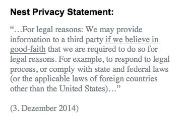 Nest privacy statement